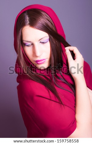 portrait of fashion model wearing a veil - stock photo