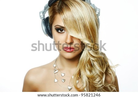 portrait of fashion model with beauty bright make-up, juicy lips. Beautiful female face with clean skin - stock photo