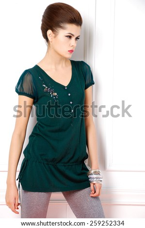portrait of fashion shot of girl posing  - stock photo