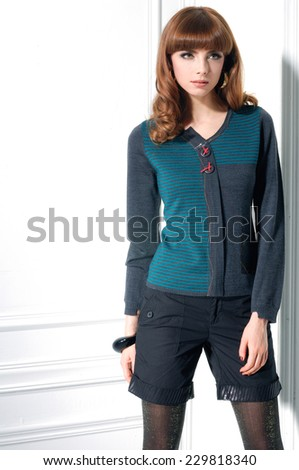 portrait of fashion shot of girl standing s posing  - stock photo