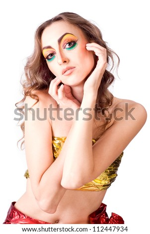 portrait of fashion woman model with beauty bright make-up over white - stock photo