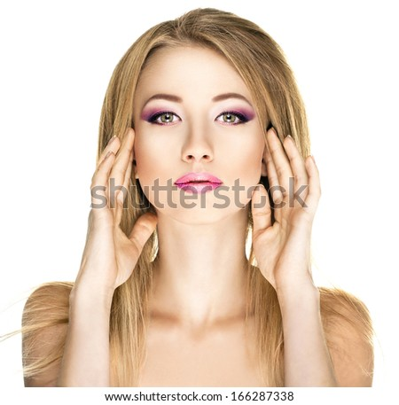 Portrait of fashion woman with a bright makeup