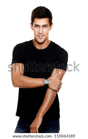 Portrait of fashion young caucasian sexy muscled attractive handsome athletic man boy model in casual clothes isolated on white