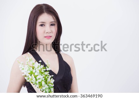 Portrait of fashionable girl on White background