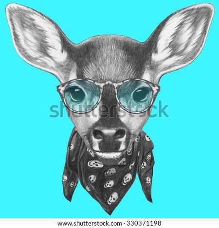 Portrait of Fawn with scarf and glasses. Hand drawn illustration.  - stock photo