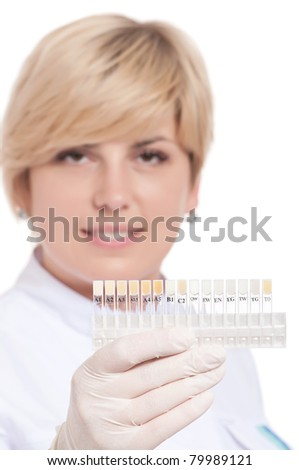 Portrait of female dentist - isolated over a white background - stock photo
