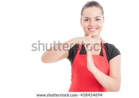 Portrait of female employee doing timeout gesture as break or pause concept isolated on white with copyspace - stock photo