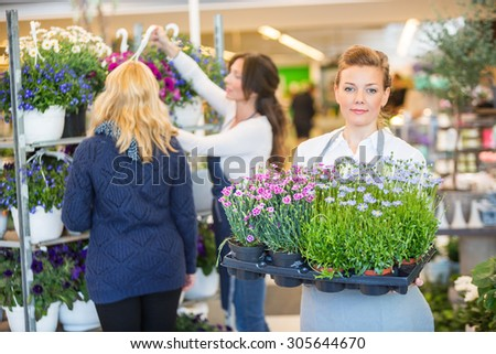 Portrait of female florist carrying flower plants with colleague assisting customer in background at shop - stock photo