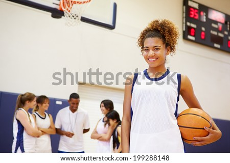 Portrait Of Female High School Basketball Player - stock photo