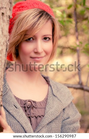portrait of female in woods