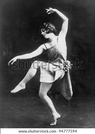 Portrait of female modern dancer performing