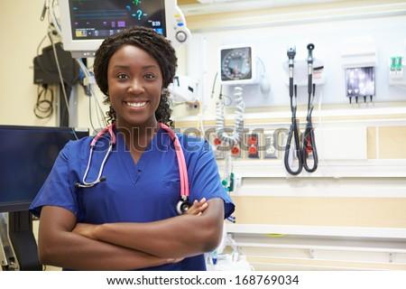 Portrait Of Female Nurse In Emergency Room - stock photo