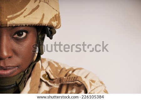 Portrait Of Female Soldier - stock photo