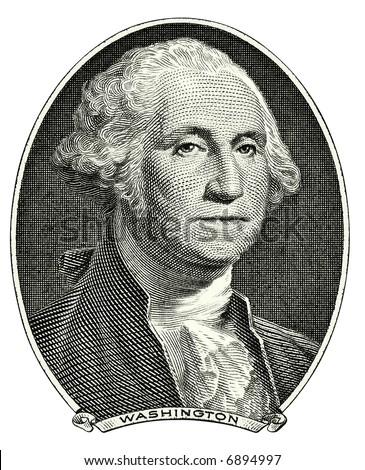 Portrait of first U.S. president George Washington as he looks on one dollar bill obverse. Clipping path included.