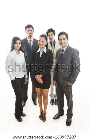 Portrait of five business executives standing