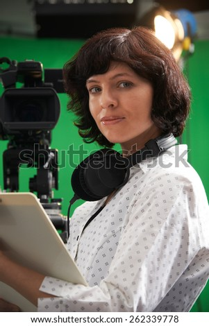 Portrait Of Floor Manager In Television Studio - stock photo