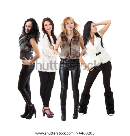 Portrait of four beautiful and sexy women posing on white background