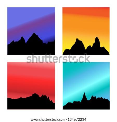 Portrait of Four Mountain Range Sunsets - stock photo