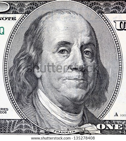 Portrait of Franklin in front of the dollar bill - stock photo