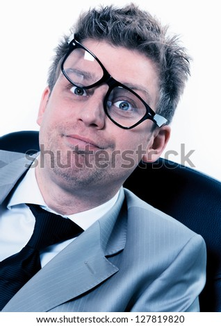 portrait of freak out of crazy manager at the office - stock photo