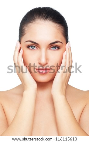 Portrait of Fresh and Beautiful brunette woman. Isolated on white background - stock photo