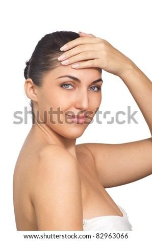 Portrait of Fresh and Beautiful brunette woman. Isolated on white background