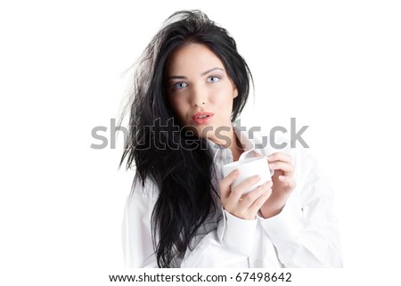 portrait of fresh and beautiful brunette woman on white background wearing white bathrobe