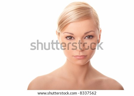 Portrait of Fresh and Beautiful sexy woman isolated on white