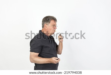 portrait of friendly smiling man - stock photo