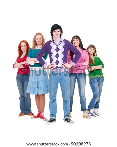 portrait of friendly young people. isolated on white background