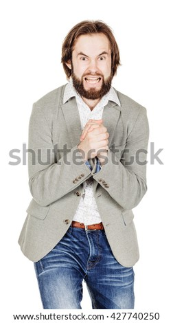 portrait of frightened bearded business man. emotions, facial expressions, feelings, body language, signs. image on a white studio background. - stock photo