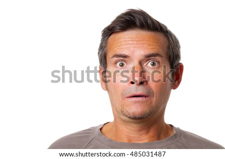 Portrait of frightened man on white background