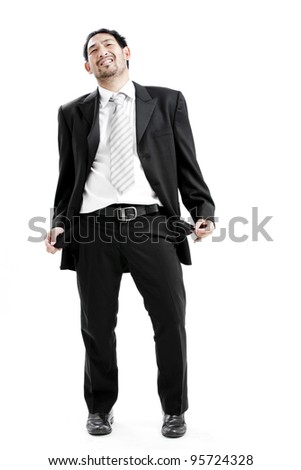 Portrait of frustrated mature executive over white background - stock photo