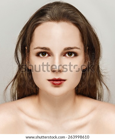 Portrait of fun attractive girl woman with freckles clear skin and beautiful hair  - stock photo