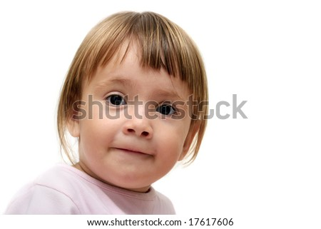 Portrait of funny baby girl isolated over white