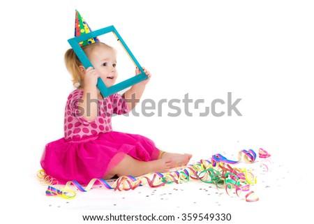 Portrait of funny carnival kid girl - stock photo