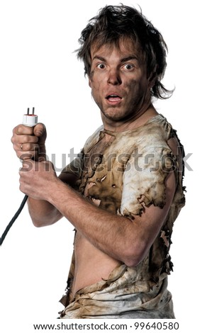 Portrait of funny electrician over white background - stock photo
