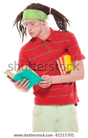portrait of funny guy with books. isolated on white background