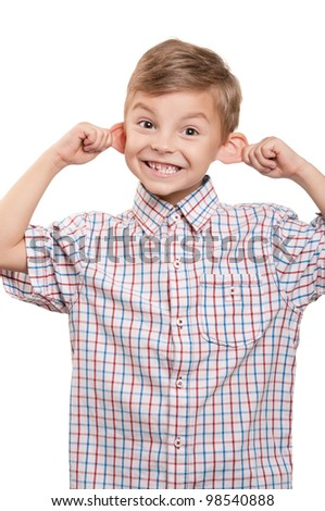 Portrait of funny little boy on white background - stock photo