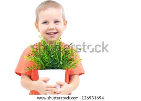 Portrait of funny little boy with window plants - stock photo