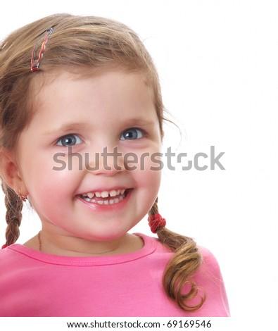 Portrait of funny little girl - stock photo