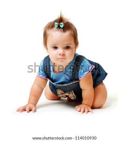 Portrait of funny lovely little baby girl looking to the camera sitting on white background - stock photo