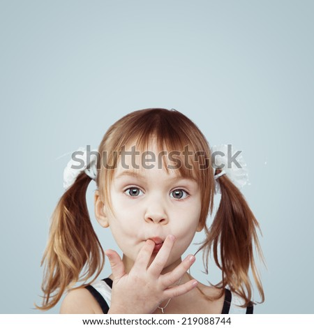 Portrait of funny lovely little girl - stock photo