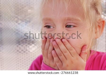 Portrait of funny lovely little girl - stock photo