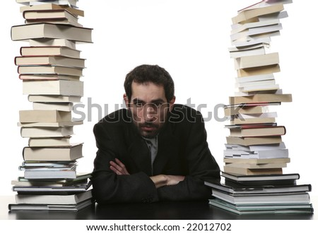 portrait of funny man between books