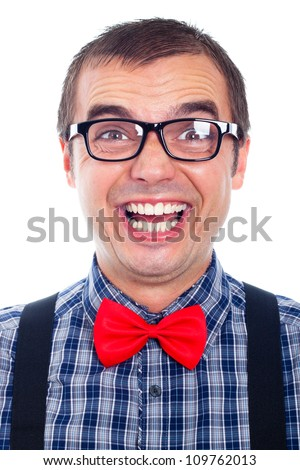 Portrait of funny nerd man laughing, isolated on white background.