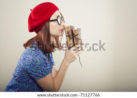 Portrait of funny student girl - stock photo