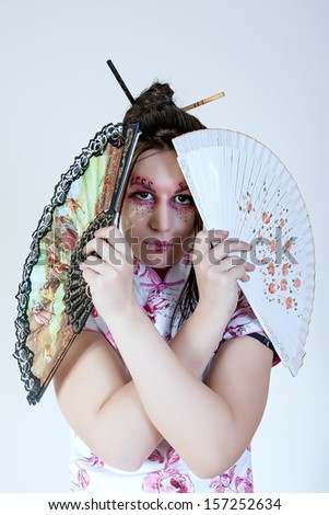 portrait of geisha. traditional make up - stock photo