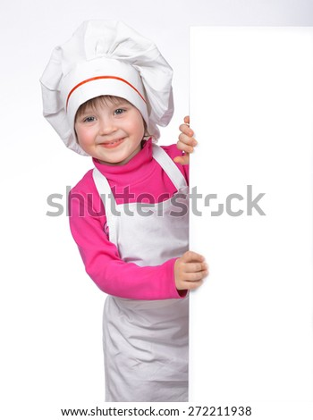 Portrait of girl chef on white background. - stock photo