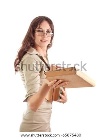 Portrait of girl holding books giving books - stock photo